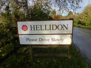 Hellidon Village sign, Northamptonshire, United Kingdom
